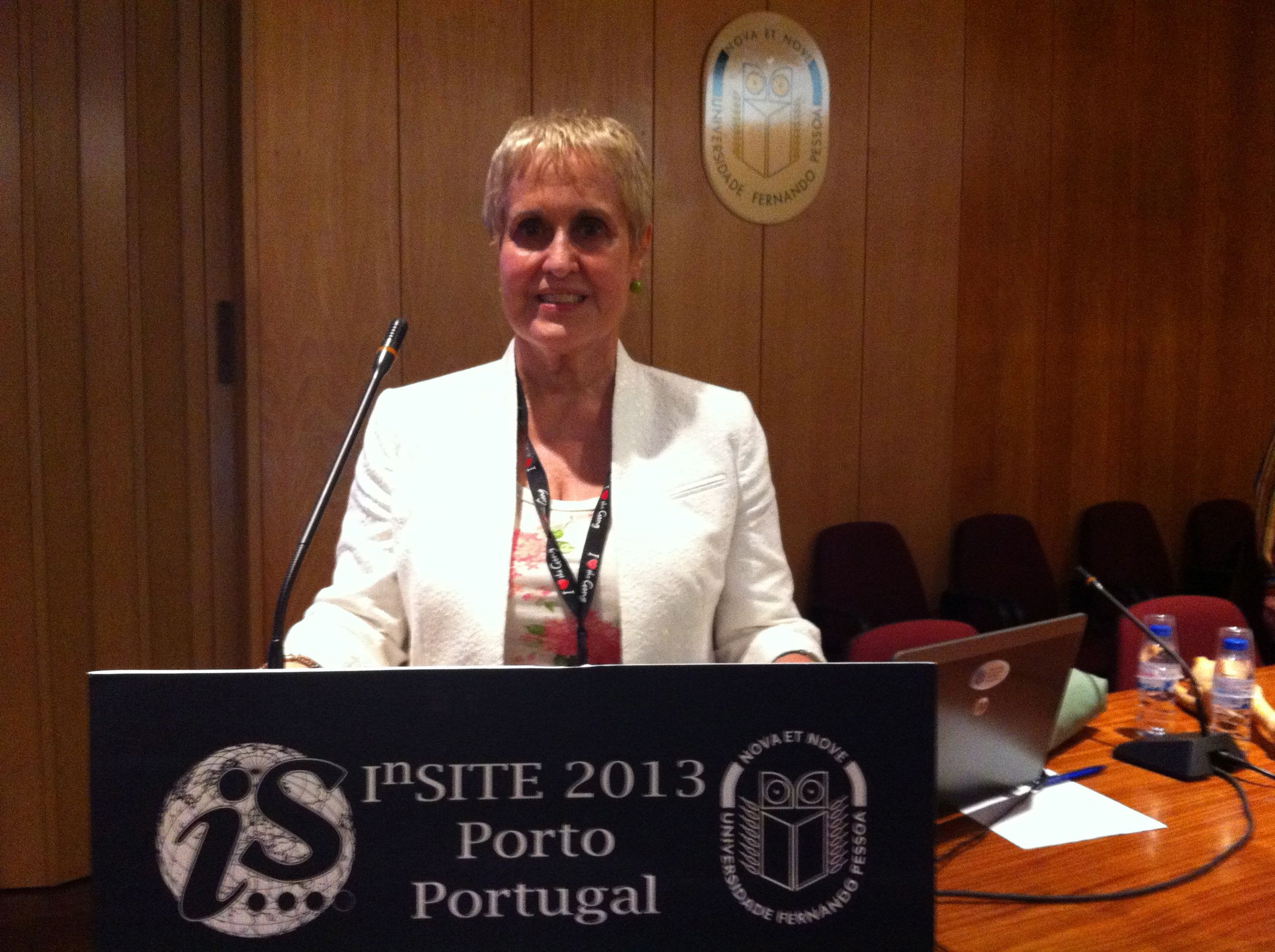 Dr. Sabra Brock, Interim Dean, Graduate School of Business, Presenting Award-Winning Paper at 2013 InSITE Conference at the University of Porto.